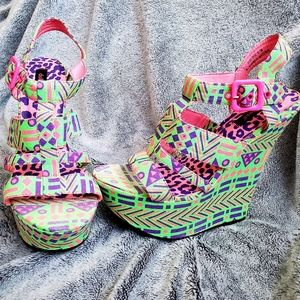 Neon Tribal Wedges pink green 8.5 sandals platform